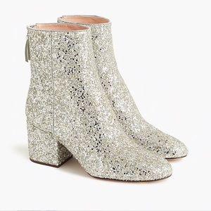 J. Crew Sadie Silver Glitter Metallic Ankle Boots